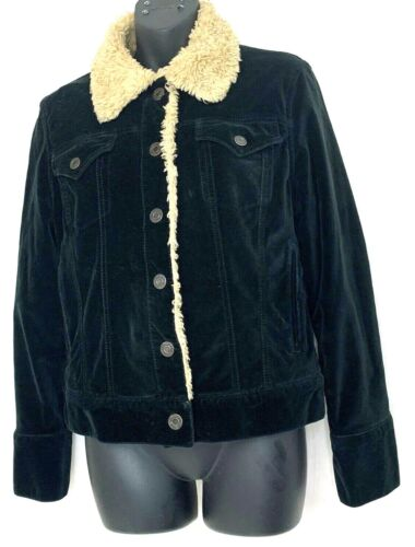 Gap Womens Cropped Jacket Velour Black Snap Button