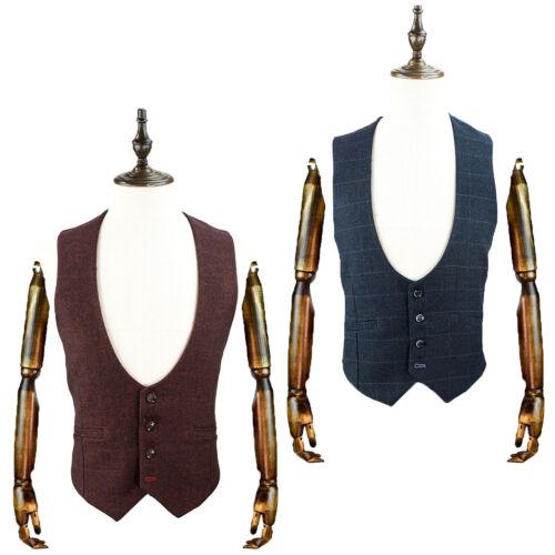 Da Uomo Trasmissione Di Marca Scoop Gilet Tweed Smart Suit Formale Casual Nuovo