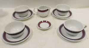 Rosenthal-Studio-Line-Purple-4x-Expresso-Mocha-Cups-With-Plate-Sugar-Milk
