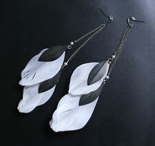 Xhilaration Dangle White Feather Silver Pendant Chain Statement Earrings
