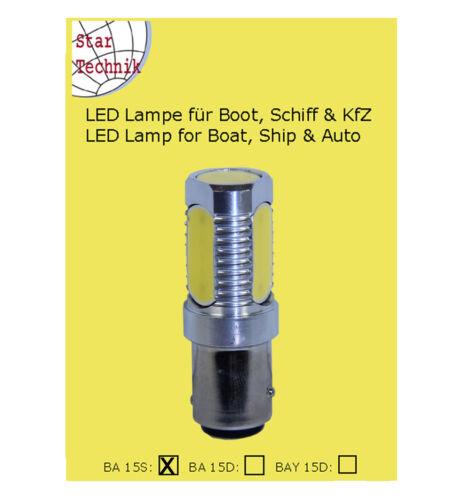 Lampada LED luce di posizione ba15s COB tecnologia 6w 12 24 Volt ba-15s BIANCO WHITE
