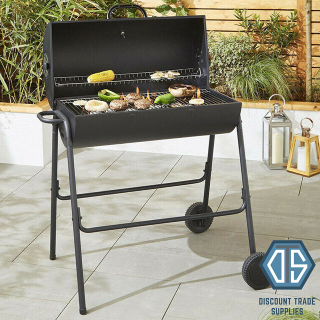 Tesco Large Half Barrel Bbq With Cover Charcoal Grill Barbecue Temp Thermometer
