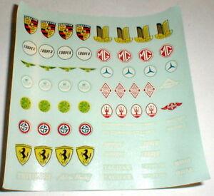 Racing Car Brand Names Logos Slot Car Decal Sheet 1960 S