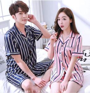Image is loading Mens-Womens-Silk-Satin-Pajamas-Set-Short-Sleepwear- 71143fa26
