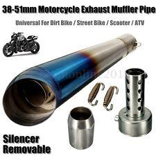 Motorcycle GP Stainless Exhaust Muffler Pipe Tip Slip Street Bike Blue 38-51mm
