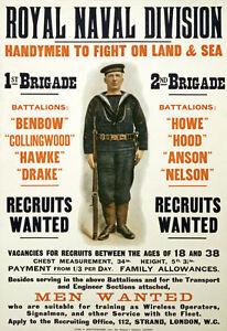 WA74-WWI-British-Royal-Navy-Men-Wanted-Recruitment-War-Poster-WW1-A1-A2-A3