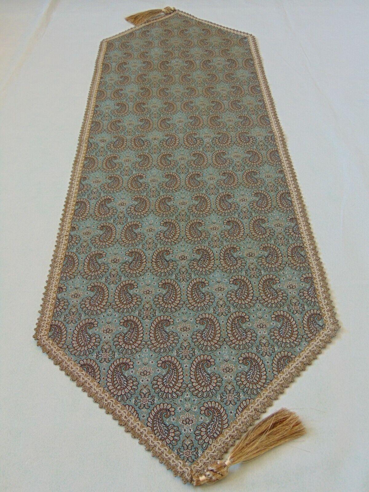 Persian art silk tapestry woven paisley rug pattern Termeh tablecloth runner