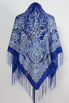 120x120 cm Pavlovo Posad style  Scarf Russian Shawl Wool  Fringe