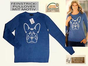 CHIC Maglione da donna maglione di lana vergine con motivo Pullover tg. S Blu