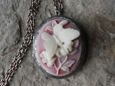 BUTTERFLY (CREAM ON RUBY RED) ANTIQUED SILVER PLATED LOCKET - WEDDING, BRIDAL