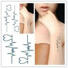 New Fashion Trends ECG Pattern Waterproof Disposable Tattoo Sticker 1 PCS ZY