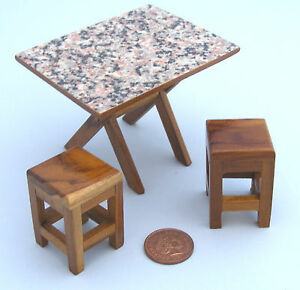 1:12 Scale Wooden Folding Table With Formica Top /& 2 Stools Tumdee Dolls House