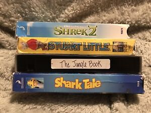 4 Vhs Kids Family Movies Shark Tale Shrek 2 Stuart Little Jungle Book Good Fun Ebay