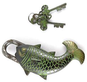 Buddhist Fearless Golden Fish Puzzle Lock Victorian Style Brass Safety Padlock
