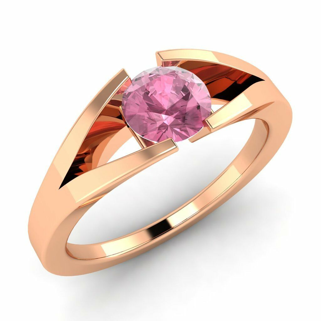 Certified 10k pink gold 0.40ctw FINE Natural Pink Tourmaline Solitaire Ring