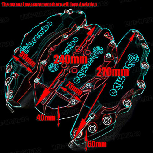 """4 Pcs Universal Sport Style Disc Brake Caliper Cover Front /& Rear Red 10.5/"""" LW03"""
