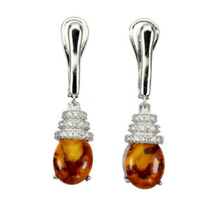 Natural-Oval-Orange-Amber-Poland-10x8mm-White-Cz-925-Sterling-Silver-Earrings