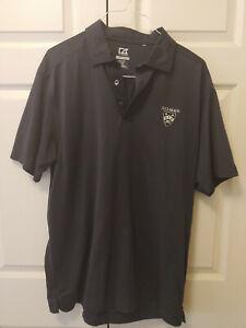 Men Solid Navy Blue Gilman Grayhounds School Short Sleeve Polo Shirt Size XL