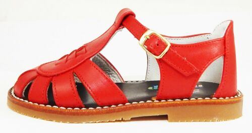 Size 6-6.5 Girls/'-Boys/' Red Leather European Fisherman Sandals DE OSU 3468