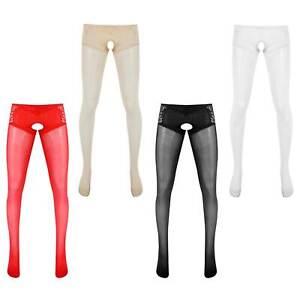 Mens See Through Lace Pantyhose Sheer Sissy Stockings Tight Long Pants Nightwear