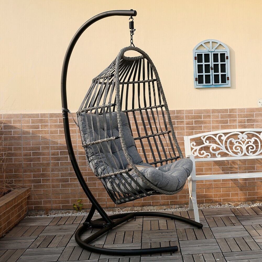 Mid Century Rattan Chair, Outdoor Patio Garden Porch Hanging Egg Chair With Cushion And Stand Wicker Seat For Sale Online Ebay