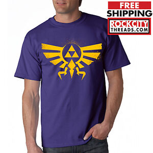 b09593f89 LEGEND of ZELDA T-SHIRT PURPLE Triforce Logo Symbol Tshirt T Link ...