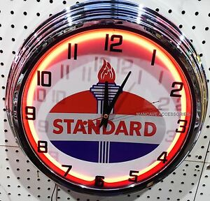 "17"" STANDARD OIL Torch Sign Single Neon Clock"