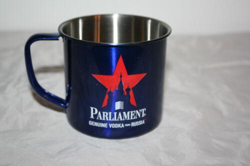 Parliament Vodka Becher Edelstahl blau metallic Tasse mit Henkel