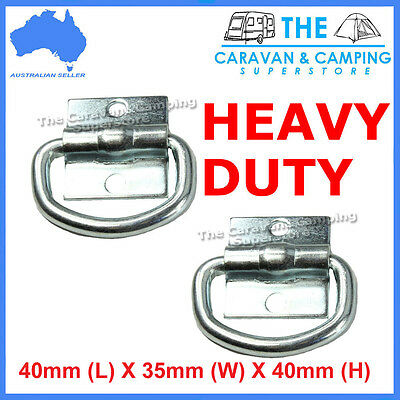 2x LASHING D RINGS TIE DOWN POINT ANCHOR ZINC PLATED 40mm x 35mm   TRAILER UTE
