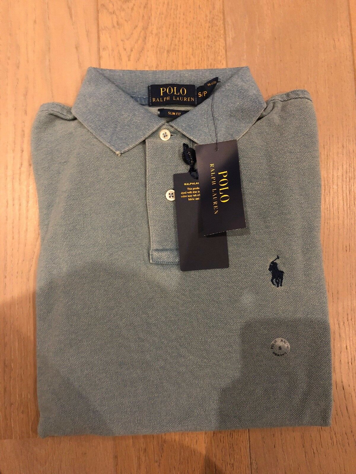 Ralph Lauren Polo Shirt Slim Fit Small Dyed bluee Cotton