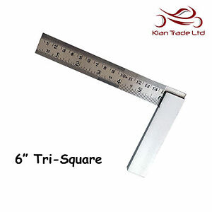 "6"" inch 150mm Try Square Graduated Marked Tri 90 Top Quality Wood Carpentry Tool"