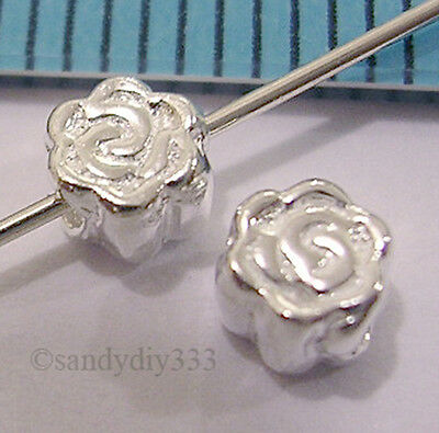 8x BRIGHT STERLING SILVER ROSE FLOWER SPACER BEADS 4.2mm #790