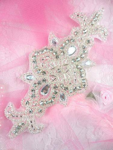 "AXR75 SILVER BEADED CRYSTAL RHINESTONE APPLIQUE 5.75/""~~"