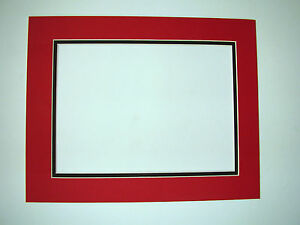 Picture Frame Double Mat 18x24 For 11x17 Photo Red With Black Liner