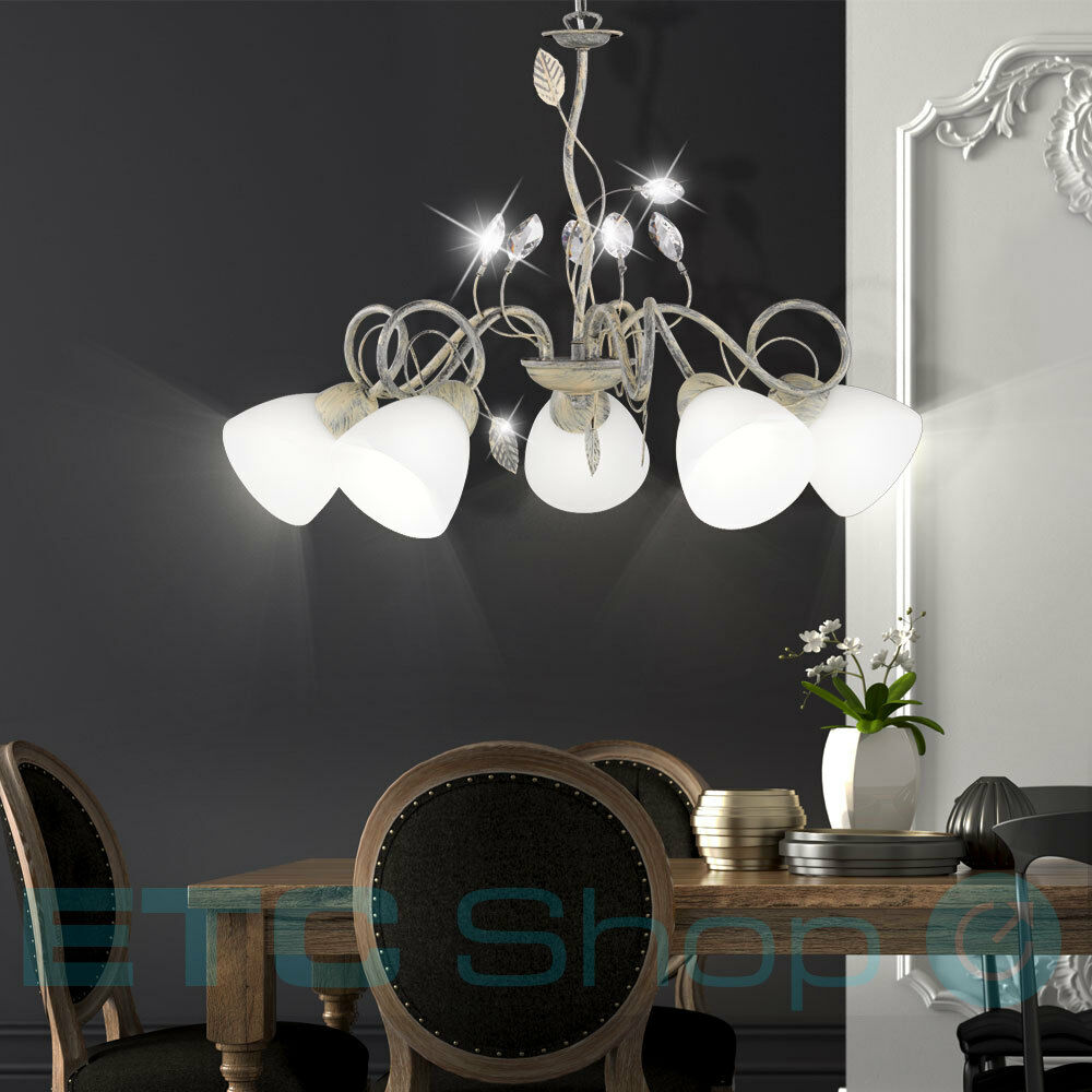 Country house style ceiling lamp living room glass leaves hanging chandelier new