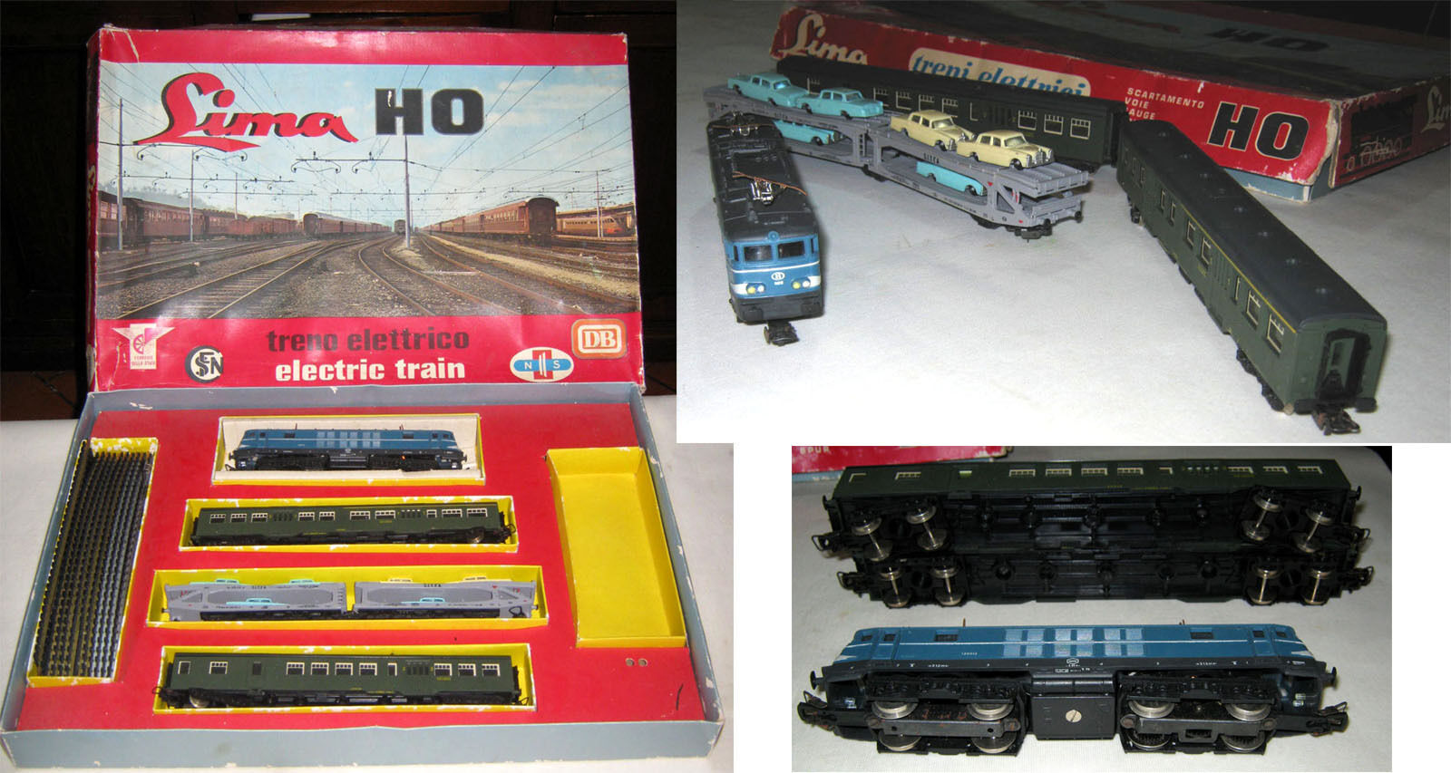 Lima HO h0 locomotive BR 150012 SNCB Benelux 2 cars 1 wagon transporter train set