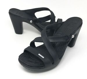 Crocs Cyprus IV Black Heels Sandals
