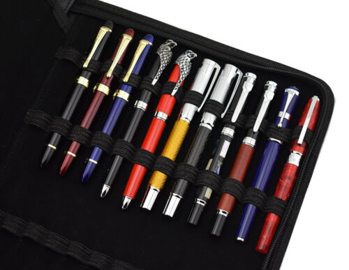 Large Capacity Fountain Pen Case PU Leather Coffee Color 48 Slots pen pouch bag