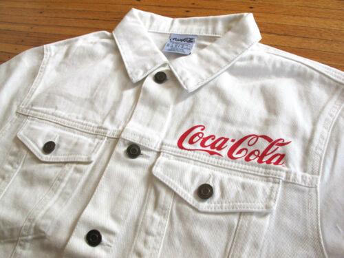 Men/'s Coca-Cola Blanc Classique Veste en jean Sz XL profitez de Coke Box Logo RARE amicaux