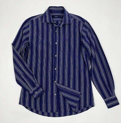 Attivo Sirio Shirt Camicia Uomo Usato Used M A Righe Blu Vintage Manica Lunga T5499