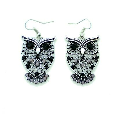 Boucles d/'oreilles Chouette Hiboux Perle Noir et Blanc owls Eulen BFPAM012