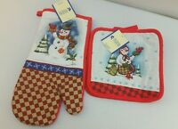 Royal Norfolk Linens Oven Mitt & Pot Holders Set Of 2 Snowman Christmas Winter
