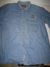 VINTAGE '80s Apple Computer Employee Denim Shirt Rainbow With Logo XL
