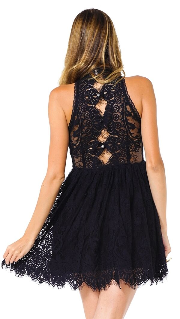 Free People Woherren  Verushka schwarz Dress High-neck Lace OB421815 Größe 2