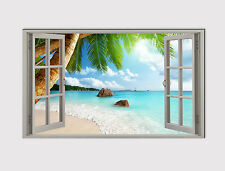 191 X LARGE CANVAS 18''x32'' WALL ART WINDOW OCEAN BEACH PALM ROCK PRINT PICTURE