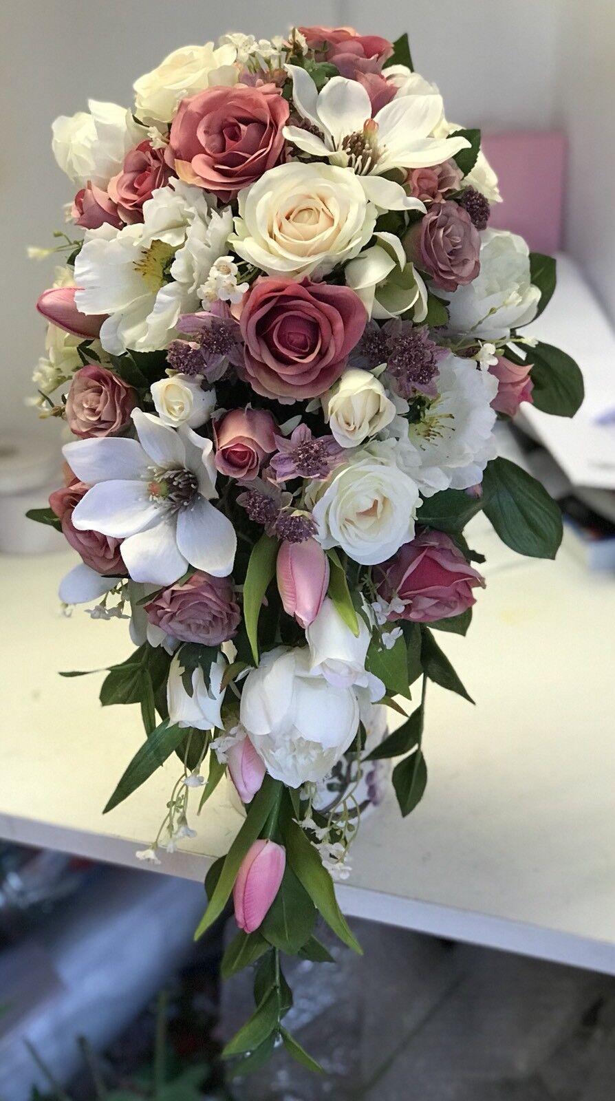 Grand Mariage Mariage Grand Bouquet, Mariée, Vintage Rose, Blanc, Rose Crème & PIVOINE Display 52b776