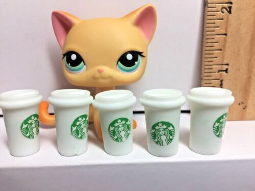 Littlest Pet Shop LPS Accessories 5 Starbucks Frappe Coffee Cups Mugs White