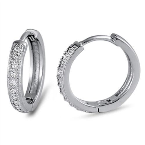 Bar Huggie Hoop Earrings Clear Simulated CZ .925 Sterling Silver