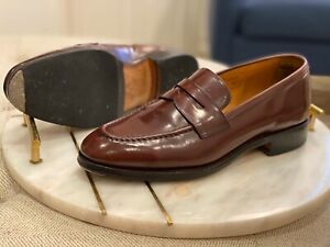 MEERMIN UK 6.5 BURGUNDY SHELL CORDOVAN PENNY LOAFERS ...