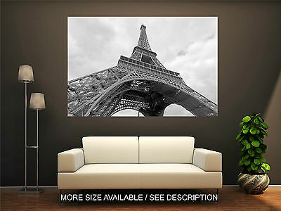 Wall Art Canvas Print Picture Europe Paris Eiffel Tower Black and white-Unframed